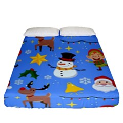 Funny Christmas Pattern With Snowman Reindeer Fitted Sheet (queen Size)