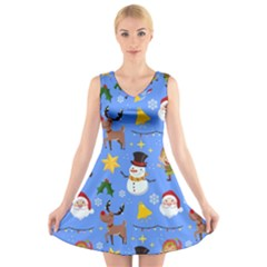Funny Christmas Pattern With Snowman Reindeer V-neck Sleeveless Dress by Vaneshart
