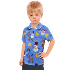 Funny Christmas Pattern With Snowman Reindeer Kids  Polo Tee