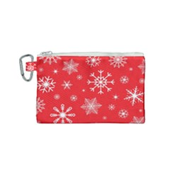 Christmas Seamless With Snowflakes Snowflake Pattern Red Background Winter Canvas Cosmetic Bag (small)