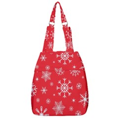 Christmas Seamless With Snowflakes Snowflake Pattern Red Background Winter Center Zip Backpack