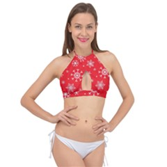 Christmas Seamless With Snowflakes Snowflake Pattern Red Background Winter Cross Front Halter Bikini Top