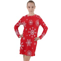 Christmas Seamless With Snowflakes Snowflake Pattern Red Background Winter Long Sleeve Hoodie Dress