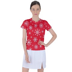 Christmas Seamless With Snowflakes Snowflake Pattern Red Background Winter Women s Sports Top
