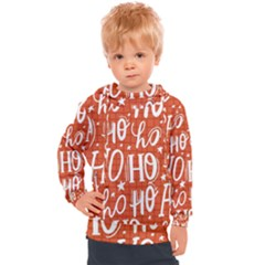 Ho Ho Ho Lettering Seamless Pattern Santa Claus Laugh Kids  Hooded Pullover