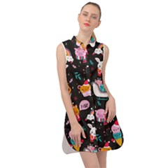 Colorful Funny Christmas Pattern Merry Xmas Sleeveless Shirt Dress