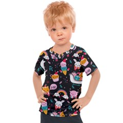Colorful Funny Christmas Pattern Merry Xmas Kids  Sports Tee