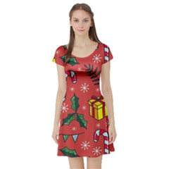 Colorful Funny Christmas Pattern Short Sleeve Skater Dress
