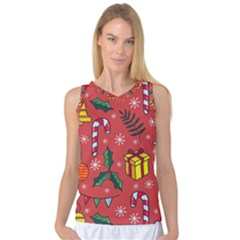 Colorful Funny Christmas Pattern Women s Basketball Tank Top by Vaneshart