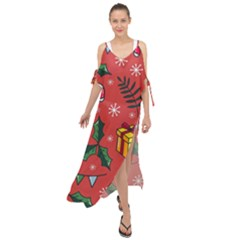 Colorful Funny Christmas Pattern Maxi Chiffon Cover Up Dress