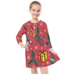 Colorful Funny Christmas Pattern Kids  Quarter Sleeve Shirt Dress