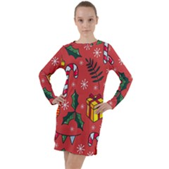 Colorful Funny Christmas Pattern Long Sleeve Hoodie Dress