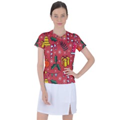 Colorful Funny Christmas Pattern Women s Sports Top