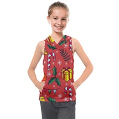 Colorful Funny Christmas Pattern Kids  Sleeveless Hoodie