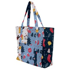 Christmas Pattern Collection Flat Design Zip Up Canvas Bag