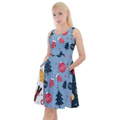 Christmas Pattern Collection Flat Design Knee Length Skater Dress With Pockets