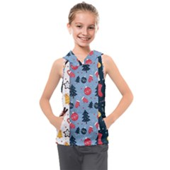 Christmas Pattern Collection Flat Design Kids  Sleeveless Hoodie