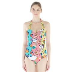Hand Drawn Christmas Pattern Collection Halter Swimsuit