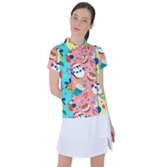 Hand Drawn Christmas Pattern Collection Women s Polo Tee