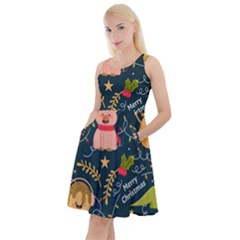 Colorful Funny Christmas Pattern Merry Christmas Xmas Knee Length Skater Dress With Pockets