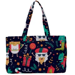 Colorful Funny Christmas Pattern Cute Cartoon Canvas Work Bag
