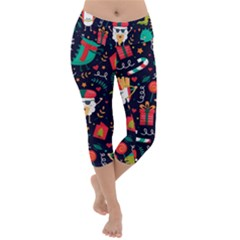 Colorful Funny Christmas Pattern Cute Cartoon Lightweight Velour Capri Yoga Leggings by Vaneshart