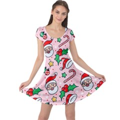 Colorful Funny Christmas Pattern Santa Claus Cap Sleeve Dress