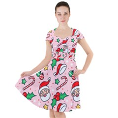 Colorful Funny Christmas Pattern Santa Claus Cap Sleeve Midi Dress by Vaneshart