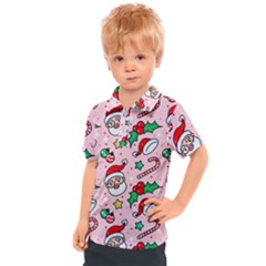 Colorful Funny Christmas Pattern Santa Claus Kids  Polo Tee