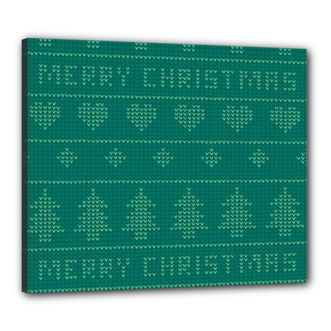 Beautiful Knitted Christmas Pattern Green Canvas 24  X 20  (stretched)