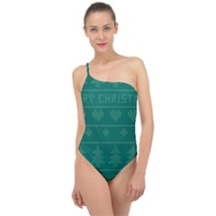 Beautiful Knitted Christmas Pattern Green Classic One Shoulder Swimsuit by Vaneshart