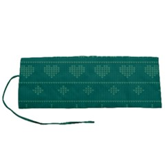 Beautiful Knitted Christmas Pattern Green Roll Up Canvas Pencil Holder (s)