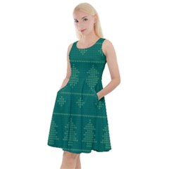 Beautiful Knitted Christmas Pattern Green Knee Length Skater Dress With Pockets