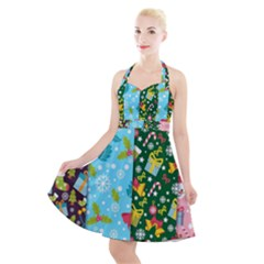 Flat Design Christmas Pattern Collection Halter Party Swing Dress