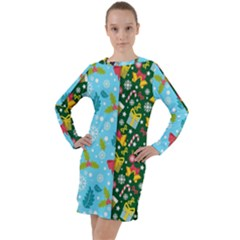 Flat Design Christmas Pattern Collection Long Sleeve Hoodie Dress