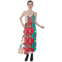 Funny Christmas Pattern Hohoho Tie Back Maxi Dress by Vaneshart