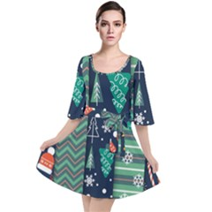 Flat Design Christmas Pattern Set Velour Kimono Dress