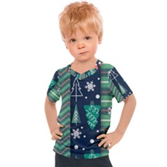 Flat Design Christmas Pattern Set Kids  Sports Tee