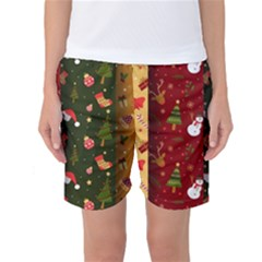 Hand Drawn Christmas Pattern Collection Women s Basketball Shorts