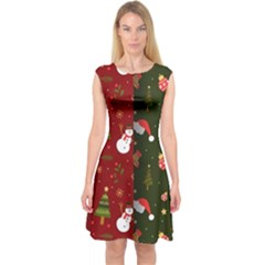 Hand Drawn Christmas Pattern Collection Capsleeve Midi Dress