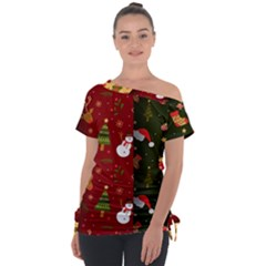 Hand Drawn Christmas Pattern Collection Tie Up Tee