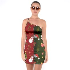 Hand Drawn Christmas Pattern Collection One Soulder Bodycon Dress