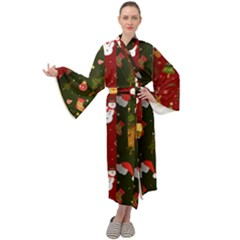 Hand Drawn Christmas Pattern Collection Maxi Velour Kimono