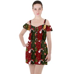 Hand Drawn Christmas Pattern Collection Ruffle Cut Out Chiffon Playsuit