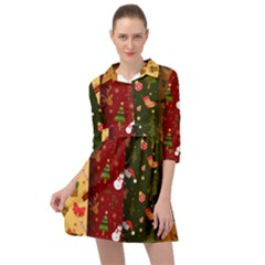 Hand Drawn Christmas Pattern Collection Mini Skater Shirt Dress