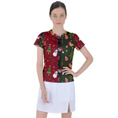 Hand Drawn Christmas Pattern Collection Women s Sports Top