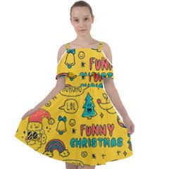 Colorful Funny Christmas Pattern Cool Ho Ho Ho Lol Cut Out Shoulders Chiffon Dress