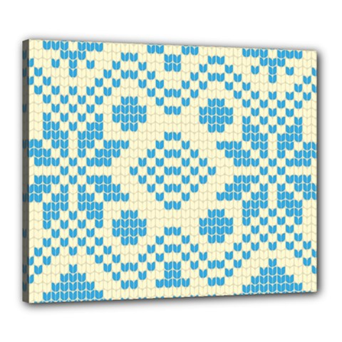 Beautiful Knitted Christmas Pattern Blue White Canvas 24  X 20  (stretched)