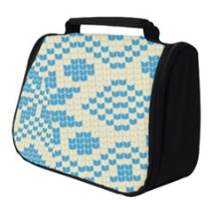 Beautiful Knitted Christmas Pattern Blue White Full Print Travel Pouch (small)
