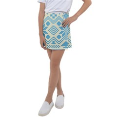 Beautiful Knitted Christmas Pattern Blue White Kids  Tennis Skirt by Vaneshart